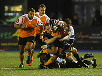 Toyota Cheetahs&rsquo; Clayton Bloometjies is tackled by Cardiff Blues&rsquo; Gethin Jenkins<br /> <br /> Photographer Kevin Barnes/CameraSport<br /> <br /> Guinness Pro14  Round 14 - Cardiff Blues v Toyota Cheetahs - Saturday 10th February 2018 - Cardiff Arms Park - Cardiff<br /> <br /> World Copyright &copy; 2018 CameraSport. All rights reserved. 43 Linden Ave. Countesthorpe. Leicester. England. LE8 5PG - Tel: +44 (0) 116 277 4147 - admin@camerasport.com - www.camerasport.com
