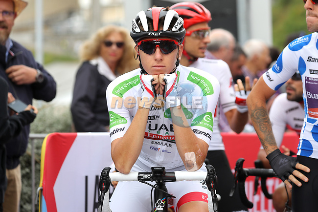 White Jersey Tadej Pogacar (SLO) UAE Team Emirates ready to start Stage 15 of La Vuelta 2019  running 154.4km from Tineo to Santuario del Acebo, Spain. 8th September 2019.<br /> Picture: Luis Angel Gomez/Photogomezsport | Cyclefile<br /> <br /> All photos usage must carry mandatory copyright credit (© Cyclefile | Luis Angel Gomez/Photogomezsport)