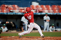 Bradley Braves Luke Shadid (10) hits a home run during a game against the Dartmouth Big Green on March 21, 2019 at Chain of Lakes Stadium in Winter Haven, Florida.  Bradley defeated Dartmouth 6-3.  (Mike Janes/Four Seam Images)