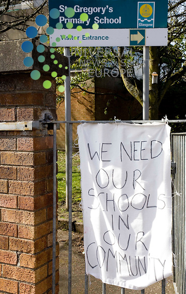 More than 20 parents have barricaded themselves inside Wyndford Primary and St Gregory's Primary in the Maryhill area of Glasgow. The council has proposed closing or merging 13 primary schools and 12 nurseries across the city. The protest at the two schools, which back on to each other, began on Friday after parents locked themselves inside the assembly halls. <br /> left to right granny agnes, ruby grant, niki rathmill, agnes johnston, andrena fisher, claire mcguinnes<br /> Picture: Universal News and Sport 5/4/09