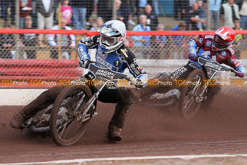 Heat 1: Chris Holder (white) ahead of Lee Richardson - Lakeside Hammers vs Poole Pirates - Sky Sports Elite League Speedway at Arena Essex Raceway, Purfleet, Essex - 02/08/10 - MANDATORY CREDIT: Gavin Ellis/TGSPHOTO - Self billing applies where appropriate - Tel: 0845 094 6026