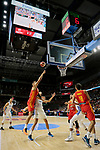 Willy Hernangomez of Spain and Eloy Vargas of Dominican Republic during the Friendly match between Spain and Dominican Republic at WiZink Center in Madrid, Spain. August 22, 2019. (ALTERPHOTOS/A. Perez Meca)