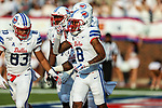 Southern Methodist Mustangs wide receiver Reggie Roberson Jr. (8) in action during the game between the UNT Mean Green and the SMU Mustangs at the Gerald J. Ford Stadium in Fort Worth, Texas.