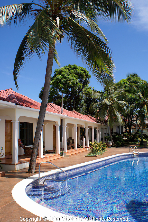 Guest rooms and swimming pool at Casa Canada hotel on Big Corn Island, Nicaragua