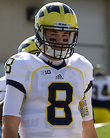 Michigan quarterback Russell Bellomy. The Michigan Wolverines defeated the Purdue Boilermakers 44-13 on October 6, 2012 at Ross-Ade Stadium in West Lafayette, Indiana.