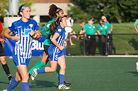 Allston, MA - Saturday August 19, 2017: Abby Smith, Amanda DaCosta during a regular season National Women's Soccer League (NWSL) match between the Boston Breakers and the Orlando Pride at Jordan Field.