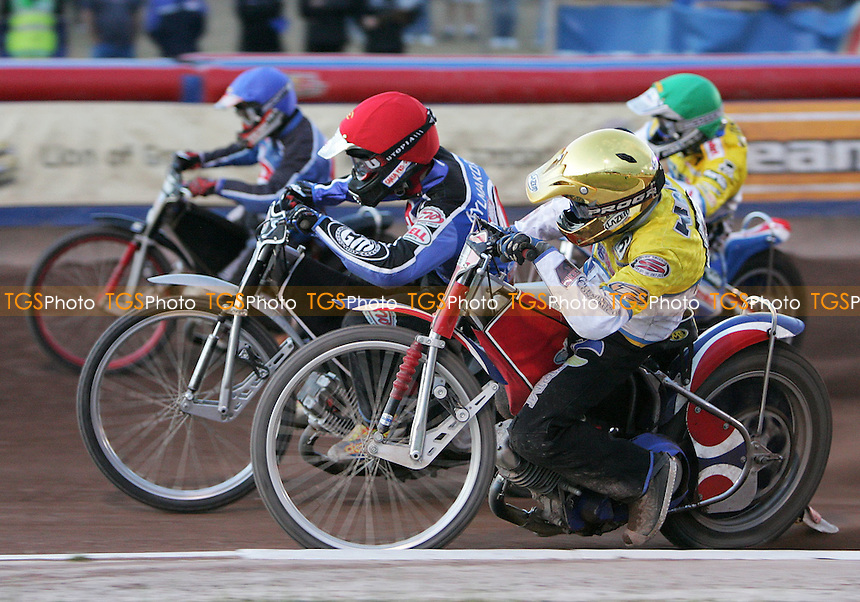Heat 11 - Brent Werner (blue) and Joonas Kylmakorpi try to hold off Piotr Protasiewicz (green) and Daniel King - Arena Essex Hammers vs Ipswich Witches - Skysports Elite League 'A' - 21/06/06 - (Gavin Ellis 2006)