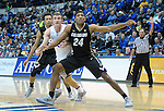 December 19, 2016:  Colorado guard, George King #24, blocks out Falcon, Zach Kocur #5, during the NCAA basketball game between the University of Colorado Buffaloes and the Air Force Academy Falcons, Clune Arena, U.S. Air Force Academy, Colorado Springs, Colorado.  Colorado defeats Air Force 75-68.