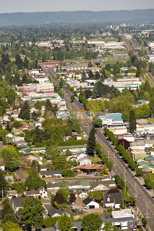 Aerial view of the Parkrose neighborhood in Portland, OR.