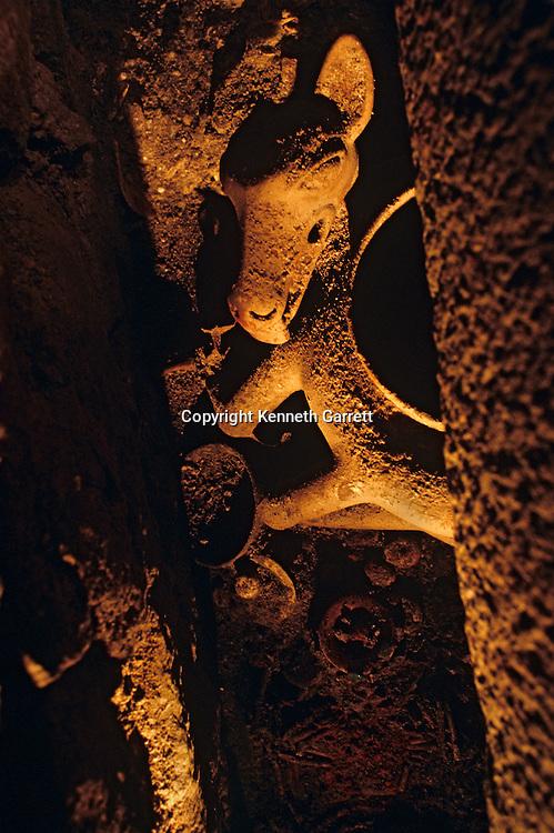Maya rise and Fall, Copan, Honduras, Hunal Tomb materials, Tomb of Yax Kuk Mo, Deer Vessel in situ, Cacao residue