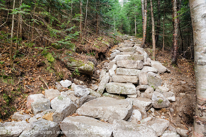 October 2011 - New stone steps along the Mt Tecumseh Trail in New Hampshire. At the time of this photo, no erosion was visible on the left-hand side of the trail work, where the large holes are. However, this section has changed considerably over the years. See how it looked nine months later here: http://bit.ly/1qY9GZY