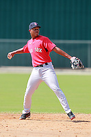 Boston Red Sox minor league shortstop Xander Bogaerts (12) during a game vs. the Minnesota Twins in an Instructional League game at Lee County Sports Complex in Fort Myers, Florida;  October 1, 2010.  Photo By Mike Janes/Four Seam Images