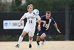 02 December 2007: Wake Forest's Jamie Franks (11) and West Virginia's Mike Anoia (15). The Wake Forest University Demon Deacons defeated the West Virginia University Mountaineers 3-1 at W. Dennie Spry Soccer Stadium in Winston-Salem, North Carolina in a Third Round NCAA Division I Mens Soccer Tournament game.