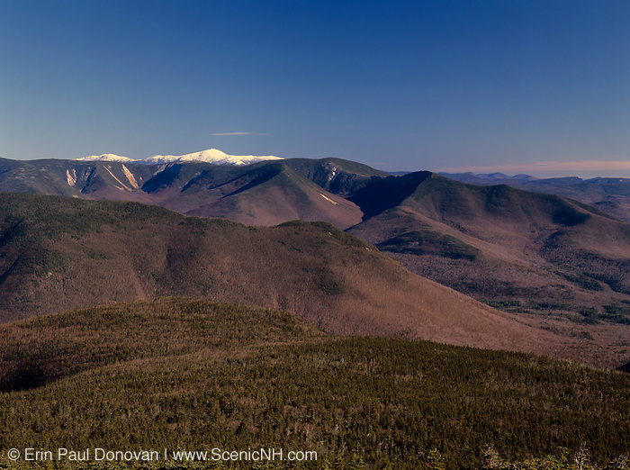 Scenic view of Mt Washington(snow-capped) from Mount Liberty in the White Mountain National Forest of New Hampshire. This forest was logged during the East Branch & Lincoln Railroad era, which as was a logging railroad in operation from 1893-1948.