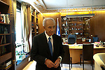 Israel's president Shimon Peres at his office in the Presidential Residence in Jerusalem, Israel.<br /> <br /> Photo by Ahikam Seri