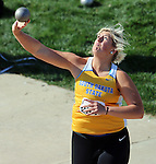 SIOUX FALLS, SD - MAY 2:  McKenzie Johnson from South Dakota State University throws the shot Friday afternoon at the Howard Wood Dakota Relays. (Photo by Dave Eggen/Inertia)