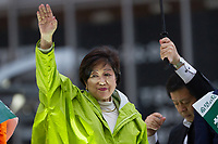 Yuriko Koike waves tp the crowd while electioneering for her Party of Hope (Kibo no To) at Shibuya crossing, Shibuya, Tokyo, Japan. Friday October 13th 2017 Koike became the Governor of Tokyo after splitting from the ruling Liberal Democratic Party (LDP)  and running against their candidate. She formed her own party after Prime Minister Shinzo Abe called a snap election. Though not running for office herself this election she remains a popular figure and campaigns for her candidates. and is predicted to weaken Abe's majority. in the Diet.