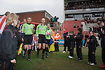 Stoke City 2 Bristol City 1, 19th April 2008. Referee Mike Riley leads the teams outPhoto by Paul ThompsonStoke City 2 Bristol City 1, 19/04/2008. Britannia Stadium, Championship. Photo by Paul Thompson.