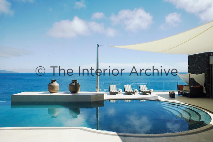 The infinity pool has views over the Koro Sea