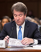 Judge Brett Kavanaugh looks over his notes as he testifies before the United States Senate Judiciary Committee on his nomination as Associate Justice of the US Supreme Court to replace the retiring Justice Anthony Kennedy on Capitol Hill in Washington, DC on Wednesday, September 5, 2018.<br /> Credit: Ron Sachs / CNP<br /> (RESTRICTION: NO New York or New Jersey Newspapers or newspapers within a 75 mile radius of New York City)