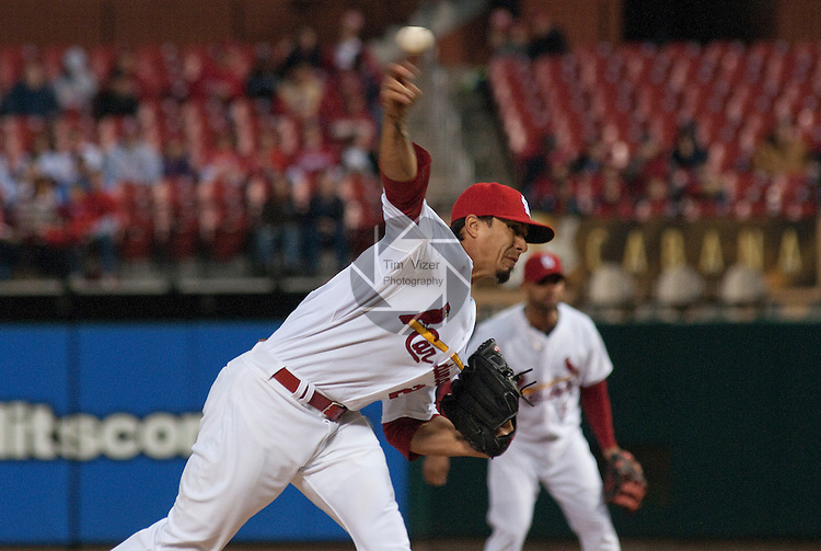 02 May 2011                                       St. Louis Cardinals starting pitcher Kyle Lohse (26) throws in the first inning. The Florida Marlins defeated the St. Louis Cardinals 6-5 on Monday May 2, 2011 in the first game of a four-game series at Busch Stadium in downtown St. Louis.