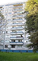 High-rise precast concrete flats built during the Communist era Panel√°k Blok Wielka p yta. Balucki District Lodz Central Poland