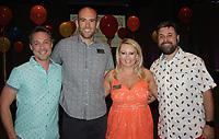 NWA Democrat-Gazette/CARIN SCHOPPMEYER Josh Howerton (from left), Lance Johnson and Gracie and Mike Ziegler help support Children's House on June 17