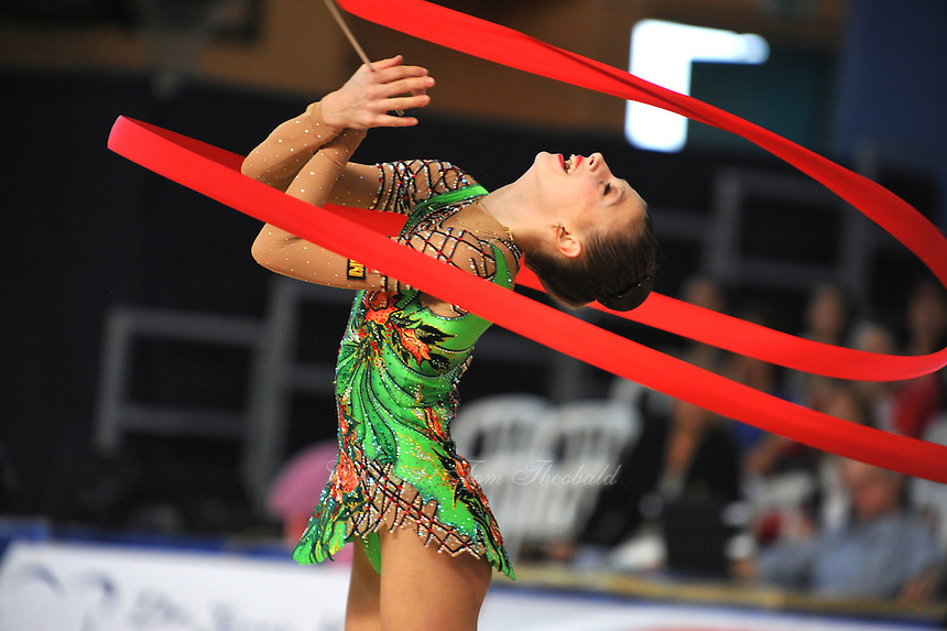 Anastasia Kisse of Bulgaria performs with ribbon at 2011 Holon Grand Prix at Holon, Israel on March 4, 2011.  (Photo by Tom Theobald)