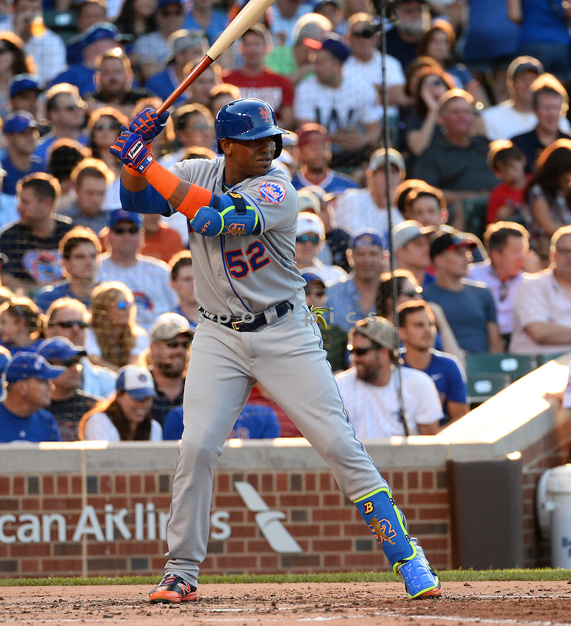 New York Mets Yoenis Cespedes (52) during a game against the Chicago Cubs on July 18, 2016 at Wrigley Field in Chicago, IL. The Cubs beat the Mets 5-1.