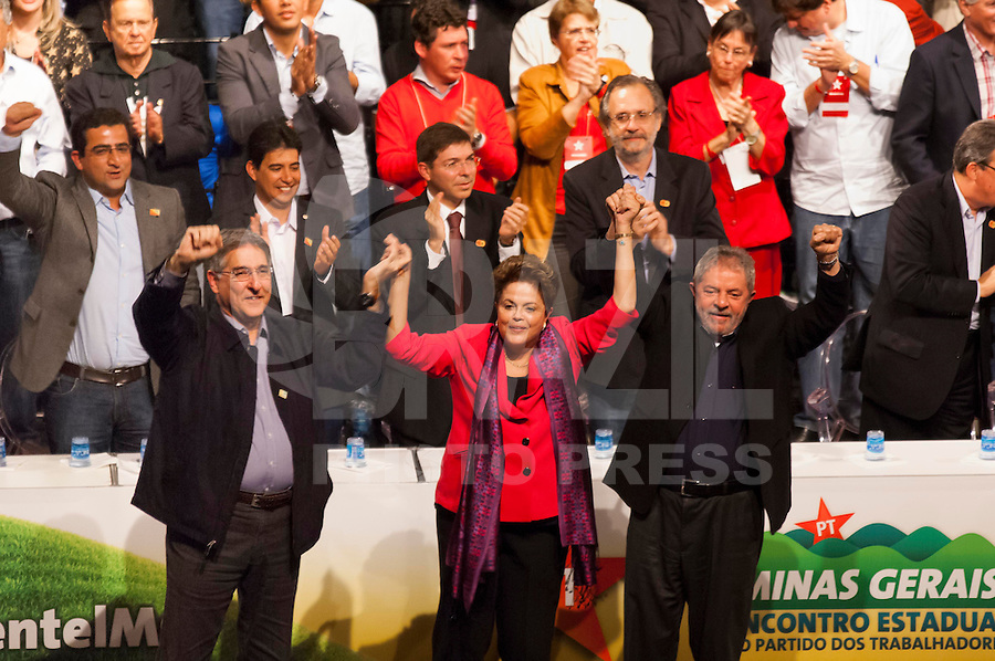 BELO HORIZONTE, MG, 30052014 _ ENCONTRO ESTADUAL DO PT MG  _  Encontro estadual do PT de Minas no Minascentro em Belo Horizonte com a presenca da Presidente Dilma Rousseff do ex presidente Lula do candidato a governador Fernando Pimentel  na noite desta sexta feira 30 Foto Sergio Falci Brazil Photo Press