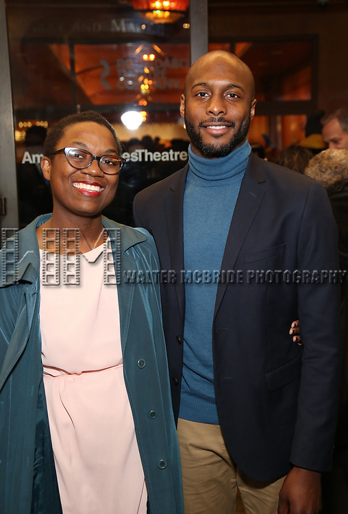 "Jireh Breon Holder and guest attends the Broadway Opening Night Performance of ""John Lithgow: Stories by Heart"" at the American Airlines Theatre on January 11, 2018 in New York City."