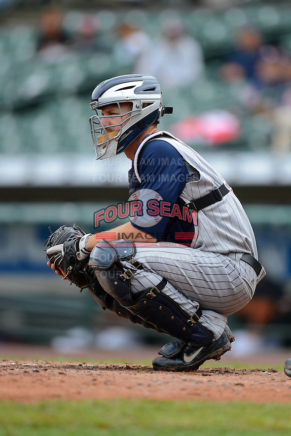 Toledo Mudhens catcher Brad Davis #6 during a game against the Rochester Red Wings on June 11, 2013 at Frontier Field in Rochester, New York.  Toledo defeated Rochester 9-5.  (Mike Janes/Four Seam Images)