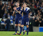 Toby Alderweireld of Tottenham and Christian Eriksen of Tottenham applaud the fans during the premier league match at the Amex Stadium, London. Picture date 17th April 2018. Picture credit should read: David Klein/Sportimage