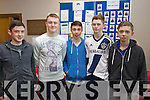 Cahersiveen indoor soccer team Pearse McGill, Shane Mulvhill, Jason Grey Jack Landers and Eoghan McDaid pictured at the Youth Clubs indoor soccer competition at the Aura Leisure Centre in Killarney on Sunday.