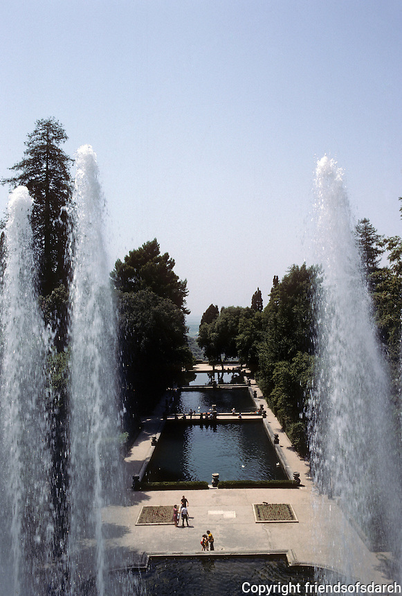 Tivoli: Villa D'Este--view of fish ponds from Organ Fountain. Photo '83.