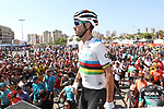 World Champion Alejandro Valverde (ESP) Movistar Team at sign on before the start of Stage 2 of La Vuelta 2019 running 199.6km from Benidorm to Calpe, Spain. 25th August 2019.<br /> Picture: Luis Angel Gomez/Photogomezsport | Cyclefile<br /> <br /> All photos usage must carry mandatory copyright credit (© Cyclefile | Luis Angel Gomez/Photogomezsport)