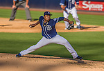 22 June 2013: San Diego Padres pitcher Edinson Volquez on the mound against the Los Angeles Dodgers at Petco Park in San Diego, California. The Dodgers defeated the Padres 6-1 in the third game of their 4-game Divisional Series. Mandatory Credit: Ed Wolfstein Photo *** RAW (NEF) Image File Available ***