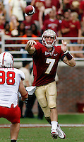 TALLAHASSEE, FL 10/31/09-FSU-NCST FB09 CH31-Florida State's Christian Ponder throws a pass over N.C. State's Shea McKeen during first half action Saturday at Doak Campbell Stadium in Tallahassee. .COLIN HACKLEY PHOTO