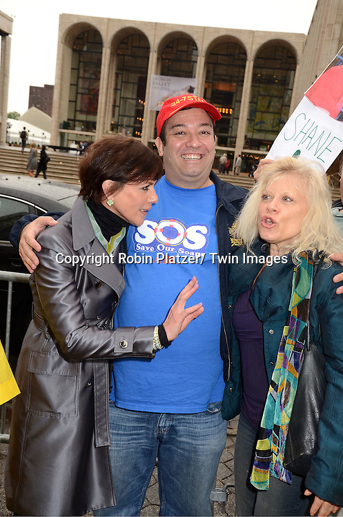 "Colleen Zenk, Shawn Brady and Ilene Kristen protesting the cancelation of ABC's ""All My Children"" and ""One Life to Live"" outside Lincoln Center where ABC was presenting it's Upfront of the 2011-2012 Fall Season  on May 17, 2011 in New York City. The protesters were trying to get the advertisers not to adverise on ABC.."