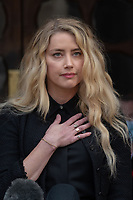 London, UK - 28 July 2020<br /> Amber Heard gives statement outside The Royal Courts of Justice at libel trial against the Sun