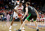 SIOUX FALLS, SD - MARCH 8: Triston Simpson #3 of the South Dakota Coyotes sets up the play against Billy Brown #3 of the North Dakota Fighting Hawks at the 2020 Summit League Basketball Championship in Sioux Falls, SD. (Photo by Dave Eggen/Inertia)