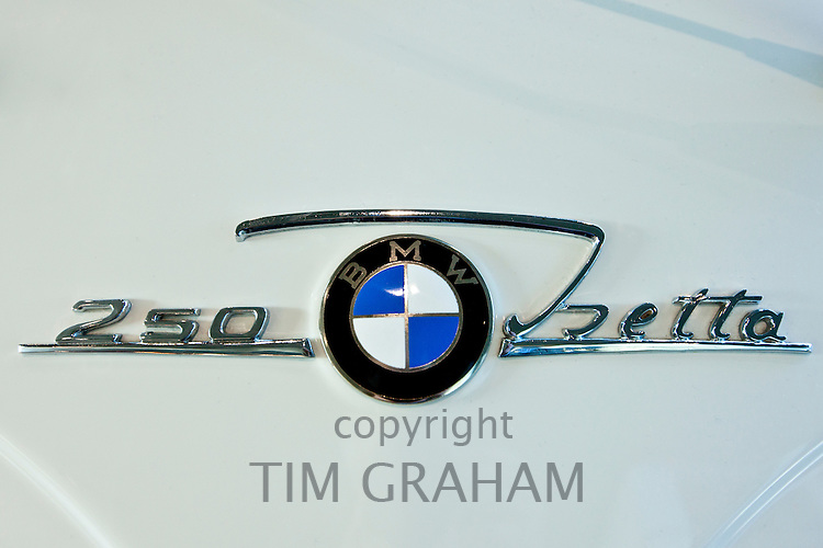 BMW 250 Isetta badge on bubble car at the BMW Factory and Headquarters in Munich, Bavaria, Germany