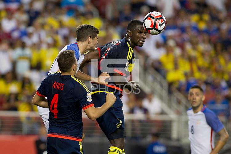 Action photo during the match United States vs Colombia, Corresponding Group -A- America Cup Centenary 2016, at Levis Stadium<br /> <br /> Foto de accion durante el partido Estados Unidos vs Colombia, Correspondiante al Grupo -A-  de la Copa America Centenario USA 2016 en el Estadio Levis, en la foto: i-d) Bobby Wood de USA y Cristian Zapata de Colombia<br /> <br /> <br /> 03/06/2016/MEXSPORT/Victor Posadas.