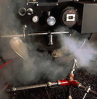 Mixing, blending and roasting coffee beans. Tenerife Canary Islands,