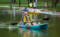 NWA Democrat-Gazette/BEN GOFF @NWABENGOFF<br /> Gary Dieker, a veteran from Siloam Springs, fishes from a kayak Saturday, Aug. 10, 2019, during the Heroes on the Water event at Lake Fayetteville.