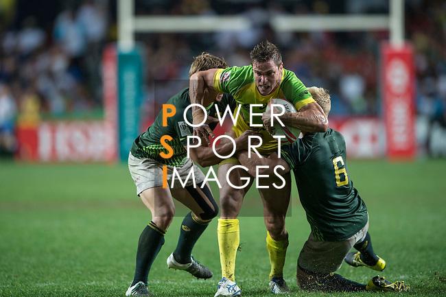 South Africa vs Australia during the HSBC Hong Kong Rugby Sevens 2016 on 10 April 2016 at Hong Kong Stadium in Hong Kong, China. Photo by Li Man Yuen / Power Sport Images