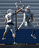Jake Lazzaro #2 of Oceanside, right, gets congratulated by John Natoli #8 after catching a pass for a touchdown in the third quarter of the Nassau County football Conference I semifinals against Farmingdale at Shuart Stadium in Hempstead on Saturday, Nov. 10, 2018.