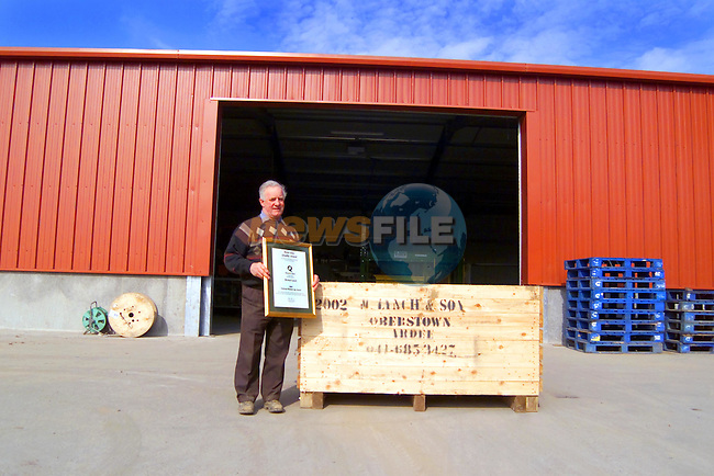 Michael Lynch, Ardee Co Louth outside his New Testing and Washing Area,with his Runner-up Award for Potato Quality from Bord Glas...Picture Tony Campbell Newsfile...This Picture is sent to you by:..Newsfile Ltd.The View, Millmount Abbey, Drogheda, Co Louth, Ireland..Tel: +353419871240.Fax: +353419871260.GSM: +353862500958.ISDN: +353419871010.email: pictures@newsfile.ie.www.newsfile.ie
