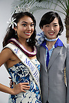 March 6, 2017, Tokyo, Japan - Miss Hawaii Allison Chu (L) smiles with All Nippon Airways (ANA) cabin attendant as they display the special designed Airbus A380 jetliner at the ANA headquarters  in Tokyo on Monday, March 6, 2017. The turtle designed A380 will be introduced on the Tokyo-Honolulu service, launching in spring 2019.    (Photo by Yoshio Tsunoda/AFLO) LwX -ytd-