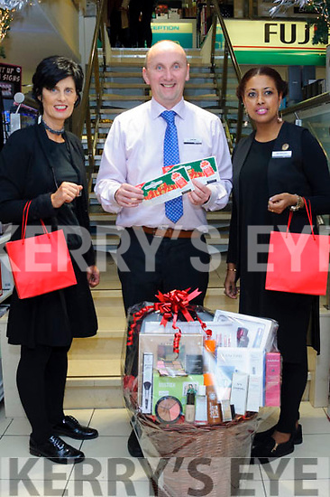 Kevin Reardon (store manager) with Helen Parker (Lancome consultant) and Betsy Hailegeorgis (fragrance manager) of CH Chemists Tralee with a fantastic hamper worth over €500 that can be won at their annual Christmas Evening from 18:00pm on Friday the 17th November. A fantastic evening will await you with more prizes, festive cheer, mulled wine, goodie bags and amazing discounts of up to 20% in store.